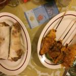 Malaysian spring roll, and chicken satay