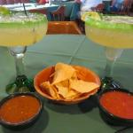 Gigantic margaritas with complementary chips and salsa