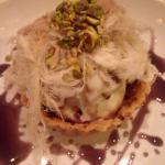 Booza tart & fairy floss - chocolate-lined short crust, halawi booza, mulberry syrup & gazal el