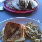 tacos al pastor and the breakfast sandwich