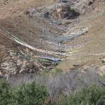 prayer flags cover hillside