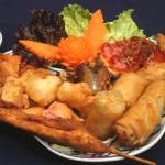 Starter platter with mushroom spring rolls