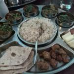 Vegan version of the delux Thali, also came with soup and poppadom