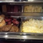 Scrambled Eggs, Ham, Sausage and Biscuits. Turkey sausage and Bacon cooked to order