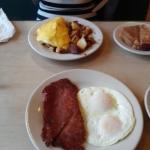 Corned-beef hash with eggs over easy