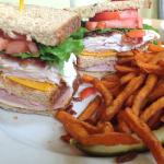 Club Sandwich & Sweet Potato Fries