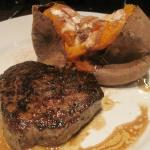 Totally lackluster presentation of 6 oz. filet with baked sweet potato.