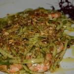 scialatielli with prawns,basil pesto,pistachios and lemon peel