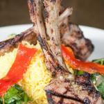 Reyash rib-cut, charbroiled, domestic rack-of-lamb, sautéed spinach, lemon infused olive oil