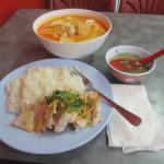 Seafood Laksa with Hainan Chicken and Rice
