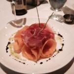 melon and prosciutto salad with balsamic and basil reduction