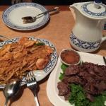 siamese bbq beef, pad thai, pot of green tea