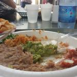 Beans, guac, salsa and spanish rice