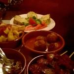 The albondigas, tortilla, lamb kebabs and potato!