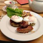 Bubble and squeak, poached eggs with sausages.