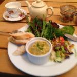 Hummus, crusty bread and salad