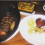 hanger steak, corn and shrimp