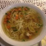 Rosół -chicken noodle soup Consistantly wonderful.i Have eaten it everyday because it is magic s