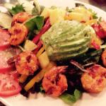 Avocado and grilled shrimp salad