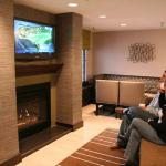 Comfortable Lobby with Flat Screen TV and Fireplace in our State College, PA Hotel