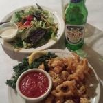 Calamari Appetizer, Dinner Salad & Peroni