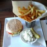 Enormous, juicy burger, fries & coleslaw
