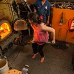 Visit the steam engine room where you can stoke the coal and earn your hon