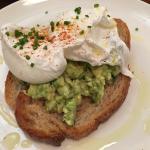 Toast with poached eggs & avocado+feta mash