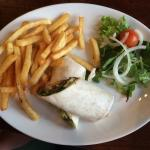 Southern fried chicken wrap with fries