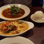 Massaman Chicken (top) and  Chicken Panang Curry
