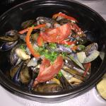 Moules Frites-Steamed mussels, chorizo & peppers, french fries