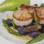 Seared Scallops with Morels, Asparagus and Purple Potatoes
