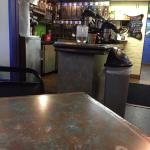 View of coffee area, BBQ cheese burger, crepes