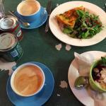 Lattes, quiche of the day & yogurt compote