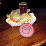 Turkey Sandwhich on Sourdough bread and a South Paw IPA