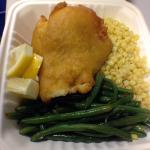Beer battered fried fish, string beans and rice