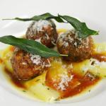 Beef & Foie Gras Meatballs with Sage Handkerchief Pasta