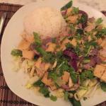 Vegan rice with fried tofu