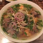 Vietnamese soup with chicken beef and shrimp