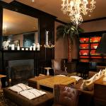 Cozy up fireside in the Brown Lounge