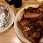 T-Bone is more than most people can eat. Huge Baked Potato and great Salad and Cole Slaw. A must