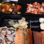 Take away - sushi, tuna salad and squid salad