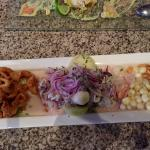 Grilled fish, ceviche, and potato appetizer