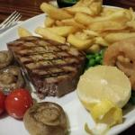 Tuna steak, crab and sticky toffee pudding