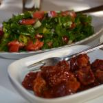 sun dried tomatoes and salad
