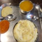 Fresh and hot Pongal with Gostu and Chatnis