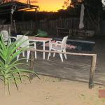 Thobeka Backpackers Pool, Lapa, Bar and braai area at sunset
