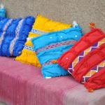Colourful Berber pillows throughout the Riad.