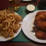 Cider and chicken fingers with curly fries