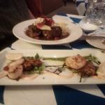 beef rouladen and seafood trio